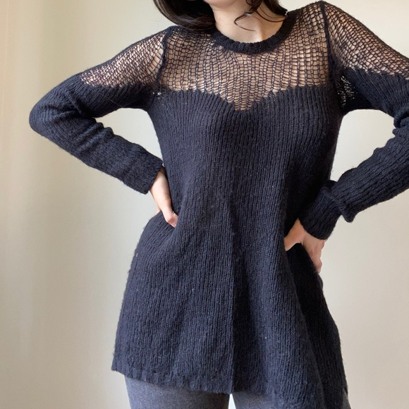 Free people black knitted sweater